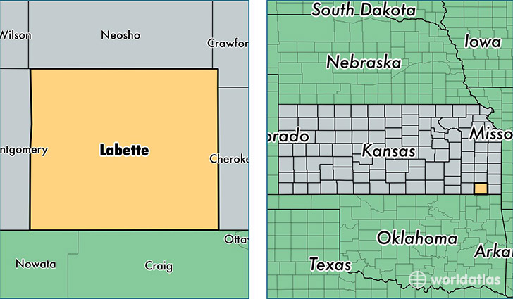 location of Labette county on a map