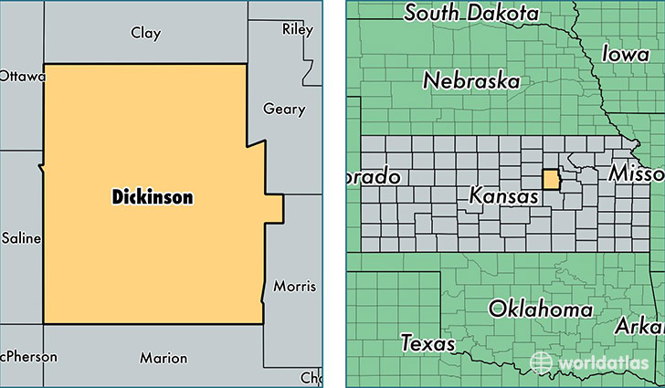 Dickinson County Kansas Map of Dickinson County KS Where is