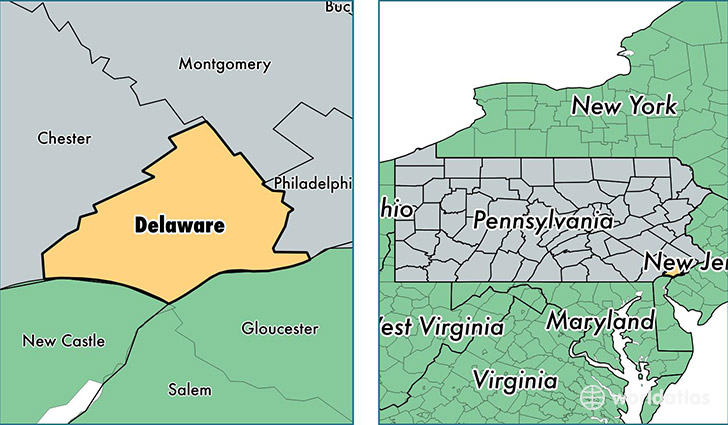 location of Delaware county on a map