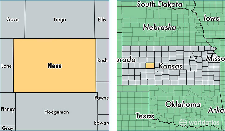 location of Ness county on a map