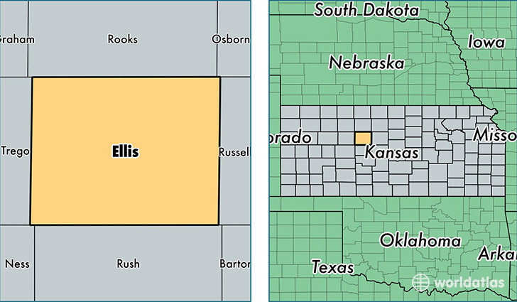 location of Ellis county on a map