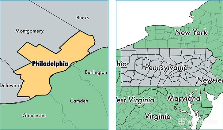 Philadelphia County Pennsylvania Map Of Pa: Philadelphia Usa Map At Infoasik.co