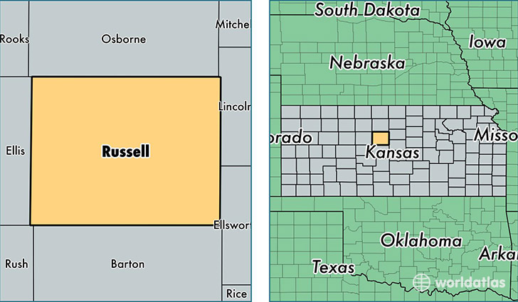 Russell County Kansas Map Of Russell County Ks Where Is