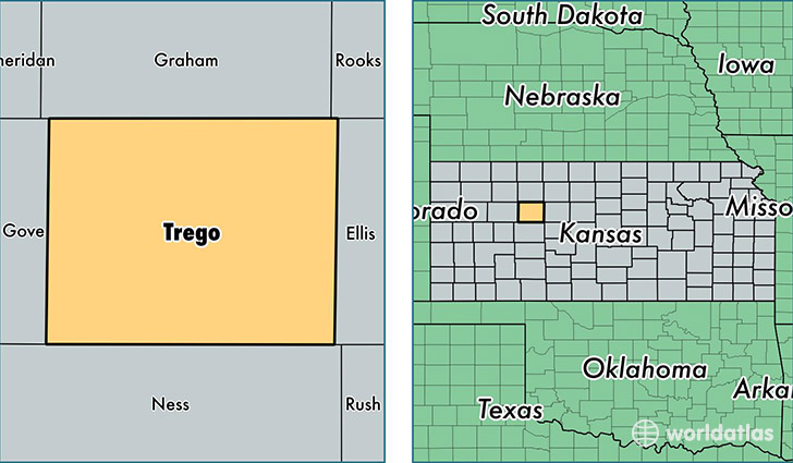 location of Trego county on a map