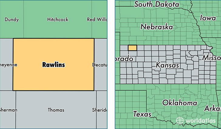 location of Rawlins county on a map