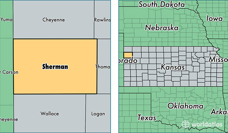 location of Sherman county on a map