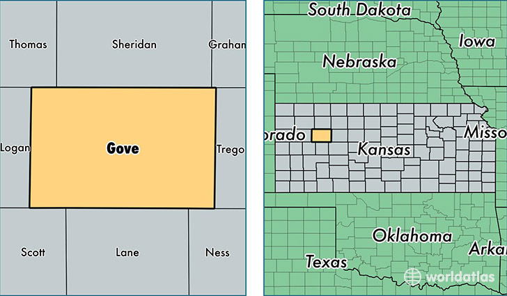 location of Gove county on a map