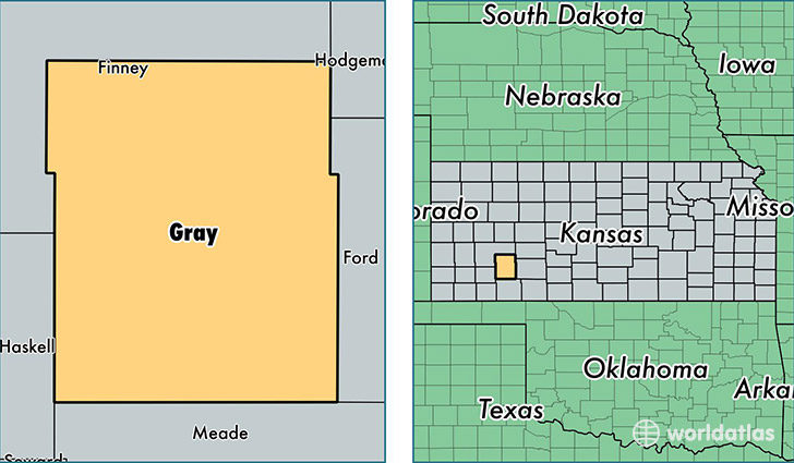 location of Gray county on a map