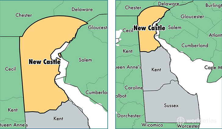 location of New Castle county on a map