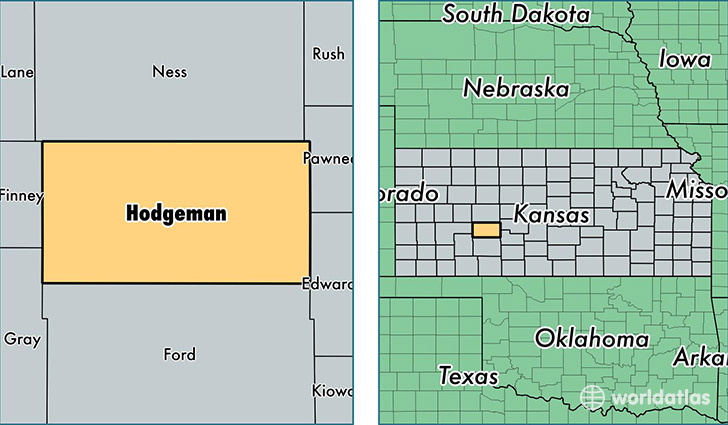 location of Hodgeman county on a map