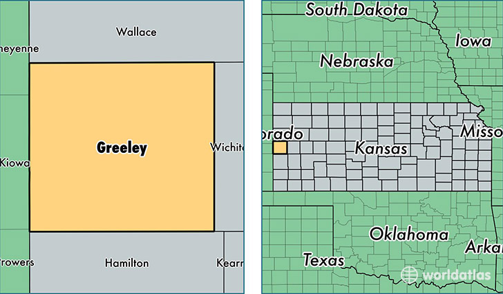 location of Greeley county on a map