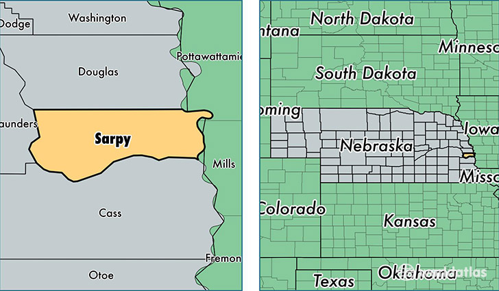 location of Sarpy county on a map
