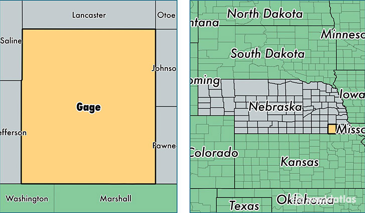 location of Gage county on a map