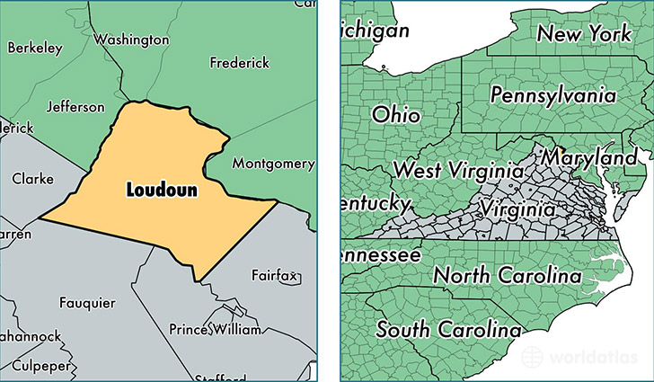 location of Loudoun county on a map