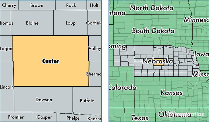 Custer County Nebraska Map Of Custer County Ne Where Is Custer