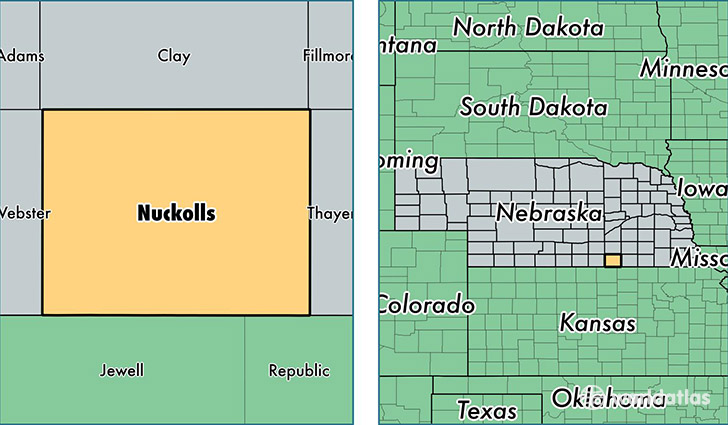 location of Nuckolls county on a map