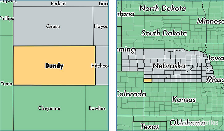 location of Dundy county on a map
