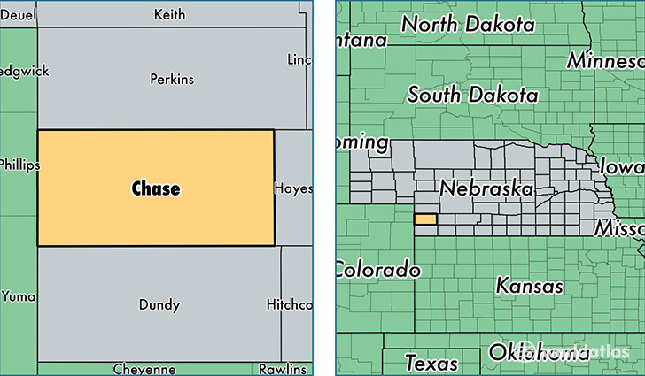 location of Chase county on a map