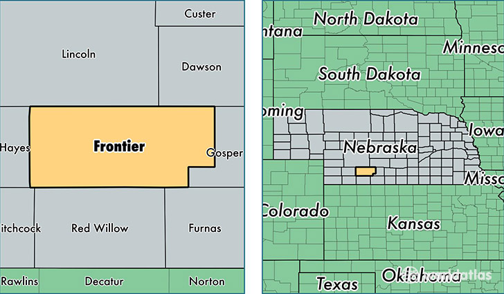 location of Frontier county on a map