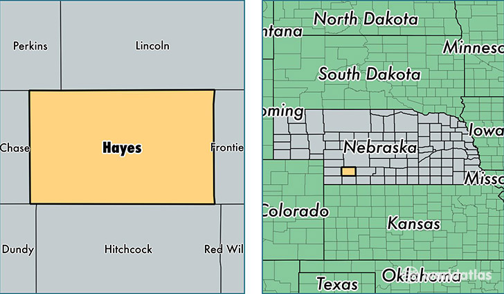location of Hayes county on a map
