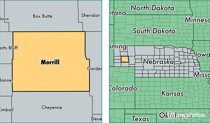 location of Morrill county on a map
