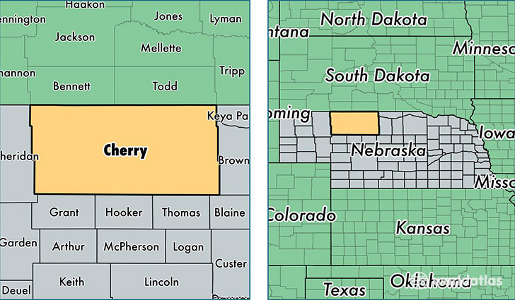 location of Cherry county on a map