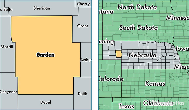 location of Garden county on a map