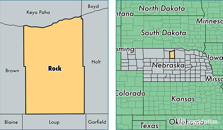 location of Rock county on a map