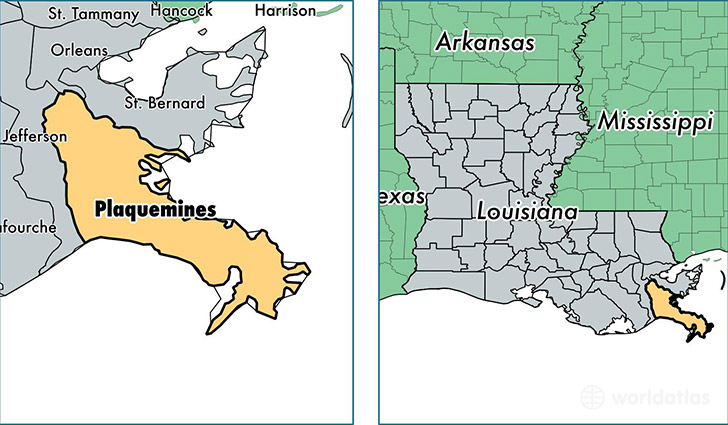 location of Plaquemines county on a map