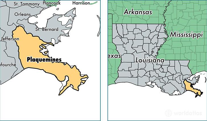 Plaquemines Parish Louisiana Map Of Plaquemines Parish LA - County map of louisiana