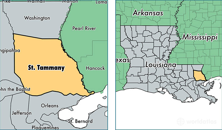location of Saint Tammany county on a map