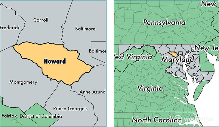 location of Howard county on a map