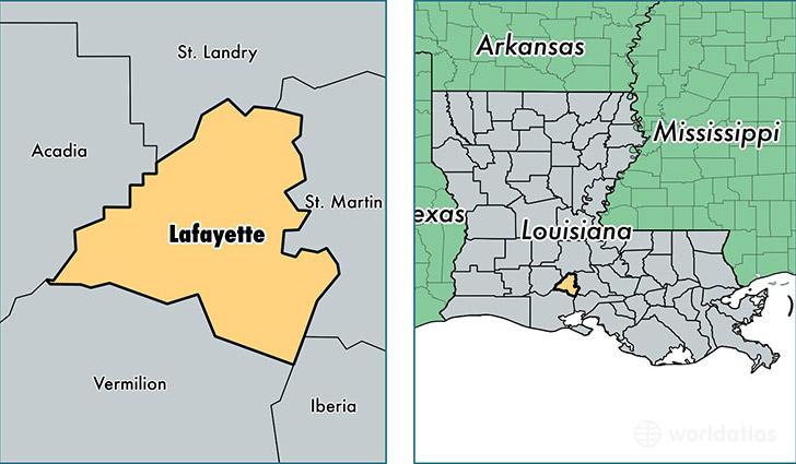 Lafayette Parish, Louisiana / Map Of Lafayette Parish, LA