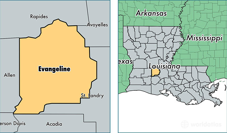 location of Evangeline county on a map