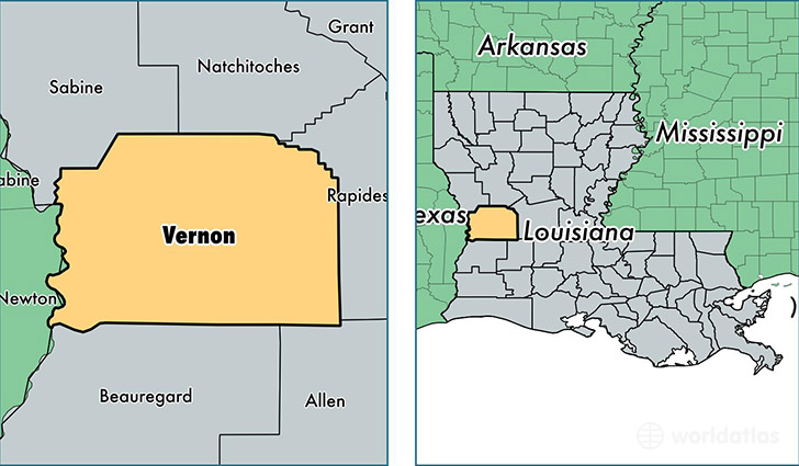 location of Vernon county on a map