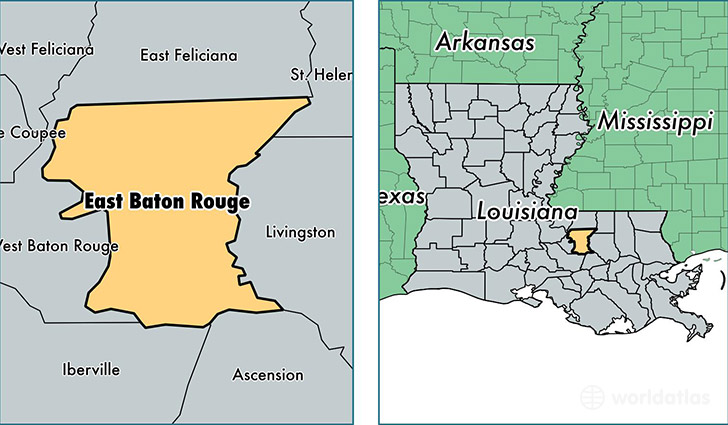 location of East Baton Rouge county on a map