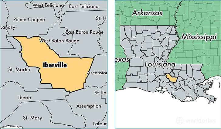location of Iberville county on a map