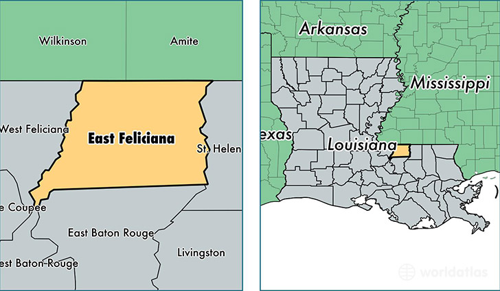 location of East Feliciana county on a map