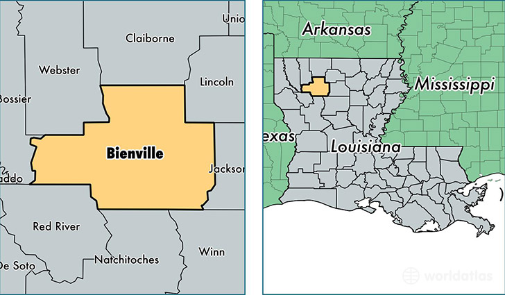 location of Bienville county on a map