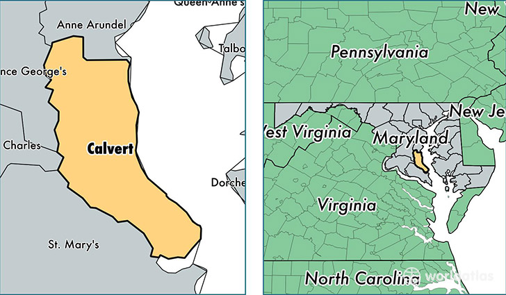 Calvert County Maryland Map of Calvert County MD Where is