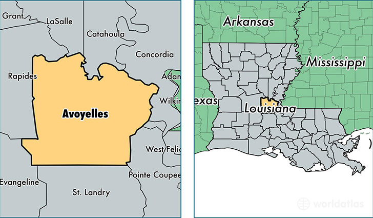 location of Avoyelles county on a map