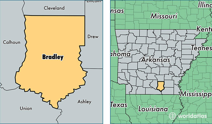 location of Bradley county on a map