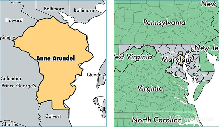 location of Anne Arundel county on a map