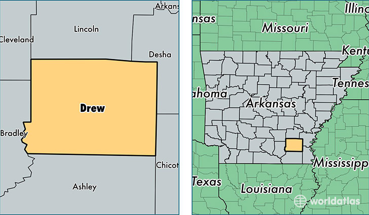 location of Drew county on a map