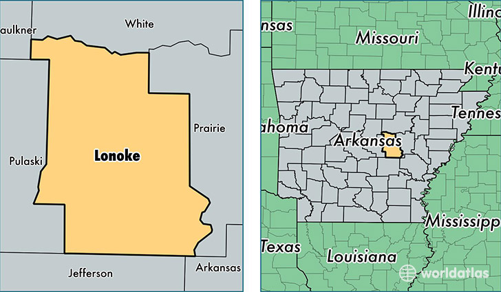 location of Lonoke county on a map