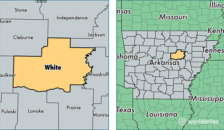location of White county on a map