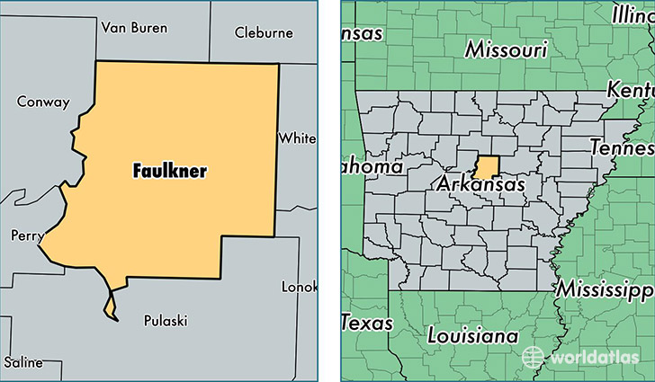 location of Faulkner county on a map