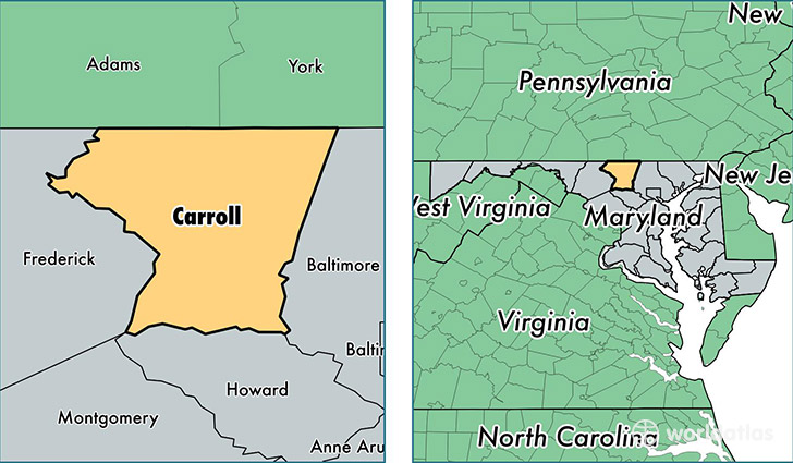 Carroll County Maryland Map of Carroll County MD Where is