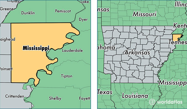 location of Mississippi county on a map