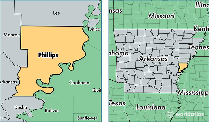 Phillips County Arkansas Map Of Phillips County AR Where Is - Counties in arkansas map